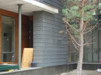 Фасад, облицованный в двойной фальц цинк-титаном Rheinzink Германия. Частный жилой дом в с.Козин Обуховского района.