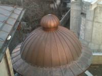 Купол беседки, Киев, радиусный фальц, медь классическая.