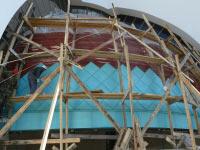 Монтаж шашки из меди патинированной на главном куполе Кафедрального Собора УГКЦ